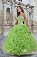 Hot Quinceanera Dresses Sexy Summer Lime Green Organza Ruffl...