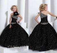 Beads hand made - New One Shoulder Black Pageant Dresses Beaded Ruffles Hand made Flower Ball Gown Flower Girl Dress