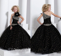 New One Shoulder Black Pageant Dresses Beaded Ruffles Hand- m...
