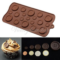 Wholesale Button Shape Chocolate Ice Candy Mold Mould Tray Cupcakes Bakeware Cake Jelly DIY