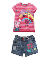 Wholesale Peppa Pig Girl s Summer suit Children rainbow t shirt jeans pants girl outfits fashion clothing sets