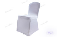 Wholesale 50 Pieces Flat Front White Spandex Lycra Folding Chair Fovers For Hotel Party Wedding Banquet By FedEx DHL Free