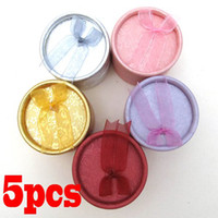 Wholesale 5PCS Cardboard Jewelry Ring Bowknot Display Necklace Round Earring Gift Case Box