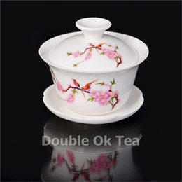 Wholesale 120ml Jade Ceramic Gaiwan Fine Bone China Chawan Bowl Porcelain Tea Cup Gongfu Tea Set Novelty Items Tea Service Infuser GW009