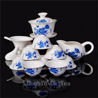 Wholesale 14pcs Fine Chinese Gongfu Tea Set Ceramic Gaiwan Porcelain Bone China Tea Cups Unique Novelty Gift Colorful Teaware T003