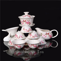 Wholesale 14pcs Fine Chinese Gongfu Tea Set Ceramic Gaiwan Porcelain Bone China Tea Cups Unique Novelty Gift Colorful Teaware T008