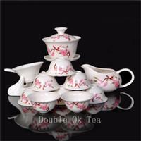 Ceramic bone china tea cup - 14pcs Fine Chinese Gongfu Tea Set Ceramic Gaiwan Porcelain Bone China Tea Cups Unique Novelty Gift Colorful Teaware T008