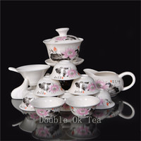 bone china tea cup - 14pcs Fine Chinese Gongfu Tea Set Ceramic Gaiwan Porcelain Bone China Tea Cups Unique Novelty Gift Colorful Teaware T009