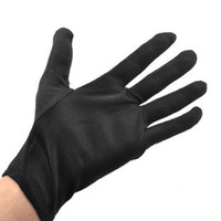 Wholesale Polyester cotton black five fingers gloves nylon terylene work gloves