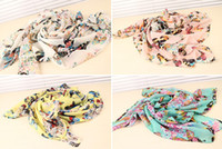 Wholesale New In Fashion Style rectangle Colorful Butterfly dance trippingly chiffon Long shawl scarves