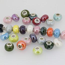 Wholesale 15mm Bulk Porcelain Ceramic Spacer European Charm Bead Fit Bracelet Finding