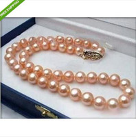 Wholesale HOT quot MM AKOYA PERFECT AAA GOLD PINK PEARL NECKLACE K YG