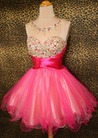 Wholesale Dazzling Charming Organza Mini A Line Sweetheart Crystal Sequins Beads Ruffle Zipper Party Dress Short Prom Gown Homecoming Dresses