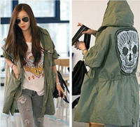 Wholesale 2013 New Korean Style Women s Loose Long Military Button Green Embroidery Skull Back Long Sleeve Hooded Coat nz122