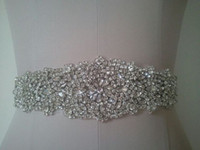 Wholesale Real Made Luxurious Crystal Shine Rhinestone Beaded Hand Made Wedding Dress Sash Bridal Sash Belt
