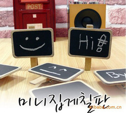 Wholesale 100PCS Small Blackboard Photo Clip Cartoon Cute Wooden Adornment Clamps Children s toys Wedding Message Boards