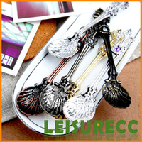 Wholesale Flatware Patterns Zinc Alloy Size Color Shell Shaped Ice Cream Spoon Kitchen And Dining JJ0024