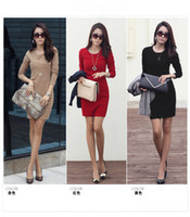 Wholesale free shiping autumn women s long sleeve anti wrinkle ol basic dress for women elegant plus size slim one piece dress