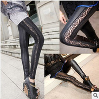 Cheap Autumn new item leather black leggings with lace side show thin lace legging stitching faux fur nine points render pants YH004