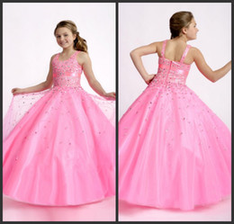 Puffy Pageant For Kids Ball Gown Spaghetti Straps Floor Length Pink Organza Beads Sequins Flower Girl Dresses Cheap Prom Party Dresses