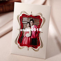 Wholesale 2013 New White Elegant Photo Frame Wedding Invitation Card with Envelopes and Seal Available High Quality