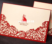 Invitation Cards Folded White Classic Red Paper Cut Wedding Invitations Cards with Envelopes and Seal, Printable and Customizable, Wholesale Available