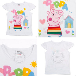 Wholesale 2013 New Arrival Girl Cotton T Shirt with Embroidery Peppa Pig Summer Cute Short Sleeve Tees for Girls tz02