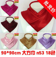 Wholesale Lady s big square silk scarf warm soft shawl women s fashion pure color silk scarves kerchief scarf cm n53