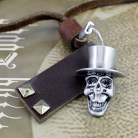 Wholesale Silver ot buckle skull long genuine leather cross necklace