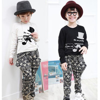 Wholesale Chaplin shadow Catoon Autumn Spring Shirt Totem Patern Harem Haroun Pants Korean American Boy Girl Baby Kid Coordinates Clothing C0026
