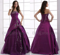 Wholesale Grape purple ball gowns strapless lace up back formal Quinceanera dresses embroidery sleeveless sweep train evening prom dresses DH003704