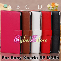 Wholesale Fashion Litchi Wallet PU Flip Leather Case Cover With Credit Card Slots Pouch Stand For Sony Xperia SP M35h