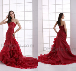 Wholesale Elegant red layered tiers organza A line evening prom dresses applique strapless sleeveless court train Quinceanera dresses DH003711