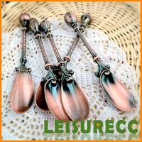Metal ECO Friendly  Silver Flatware Value Zinc Alloy Lots 12cm 4Color Cute Retro Cane Long Bowl Spoon Catering Equipment