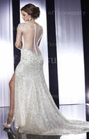 Wholesale 2013 Long full Sleeves Pageant Evening Dresses Beaded Sequins Dresses Side Slit Prom Gown P14579