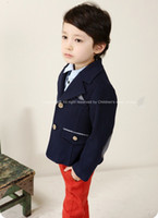 Wholesale Boys Jackets Kids Cotton Coats With Elbow Retro Fashion Double breasted Lapel Children Suit Outwear Tartan Lining C0031