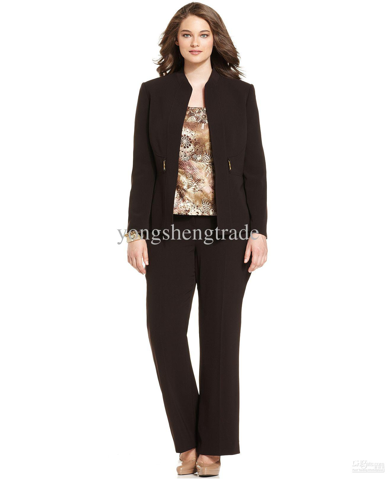 Plus Size Suit Mandarin-Collar Jacket Printed Shell & Trousers