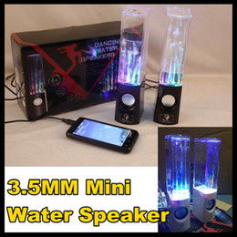 Wholesale Dancing Water Speaker in1 USB Mini Stereo DISCO Color LED Water Drop Portable Best Sound V for PC MP3 MP4 PSP Music Player PC Pair