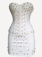Wholesale Sexy Lingerie White PVC FAUX LEATHER Basque Corset Mini Skirt punk fancy dress K39 S XXL