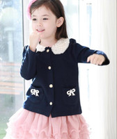 Wholesale 2013 NWT Trendy Lace Backside Special Label Elegnt Bow Jacket Kerean Coat Cloak Retro Winter Spring Autumn Girl Toddlers Kid Clothing C0033