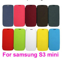 Leather For Samsung For Christmas Free Shipping -For samsung Galaxy S3 mini i8190 Flip PU Leather Case Cover back battery cover 300pcs lot