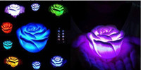 Wholesale 2013 New Arrival Hot Sales New Fashion Changing Color LED Floating Rose Flower Candle lights good quality LED14