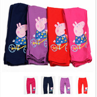 Wholesale Girls leggings nova hot sale peppa pig leggings color solid kids leggings stretch cotton pants baby tights in fuchsia navy purple G4223