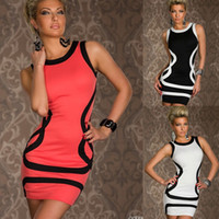 Wholesale Cheap Brand New Sexy Black White Club Dress for Female Stripes Sleeveless Sheath Summer Mini Pencil Sundress Party Evening Dress