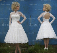 Wholesale 2014 Short A Line Wedding Dresses Long Sleeved Lace Ball Gown wedding dress with Knee length and backless style BO1818