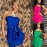 Wholesale Plus Size Neon Color Sexy Slash Neck Strapless Lace Sheath Clubwear Dress Peplum Formal Evening Party Pencil Mini Dresses Size M XXL