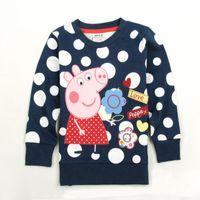 Wholesale F4290 Navy Nova m y children girls t shirts hot peppa pig clothes cotton long sleeve polka dots tee shirts girls spring autumn tops