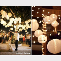 Wholesale 48x8 quot White Paper Lantern white LED Light Wedding Party Home Decoration