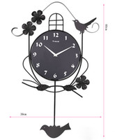 Wholesale funlife cm in Fashion Art Creative European Wall Clock Wrought Iron Swing Bird Decor Silent Clock wc1078