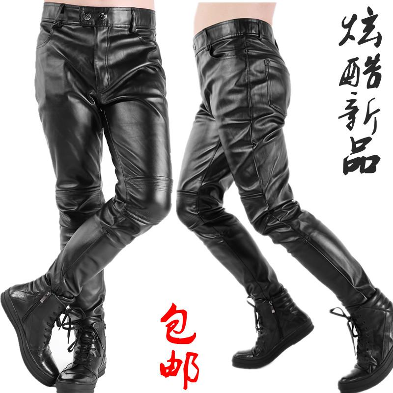 2017 Fashion Cool Men'S Tight Slim Male Leather Pants Plus Size Pu ...